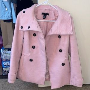Baby pink H&M double breasted pea coat
